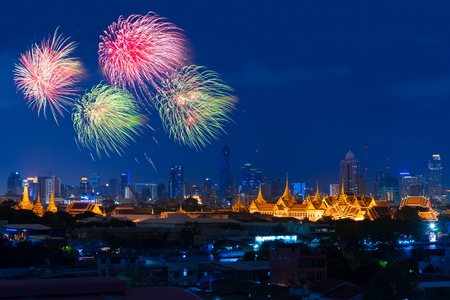 Fireworks explode above The Grand Palace, Bangkok, Thailand