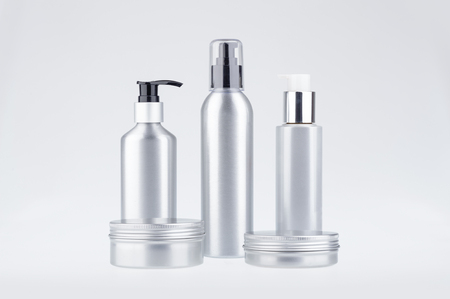 Aluminium cosmetic dispenser bottles and cartridges with clipping path