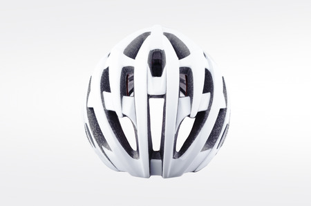 White bicycle helmet isolated on white background. Back view