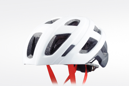 White bicycle helmet isolated on white background.