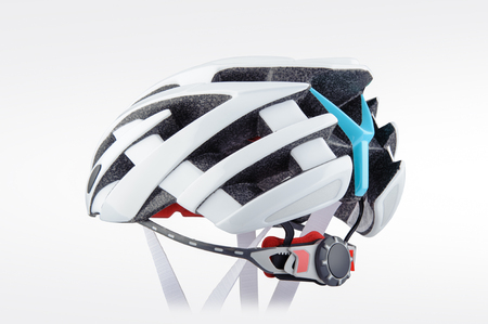 White bicycle helmet isolated on white background. Side view of bicycle helmet