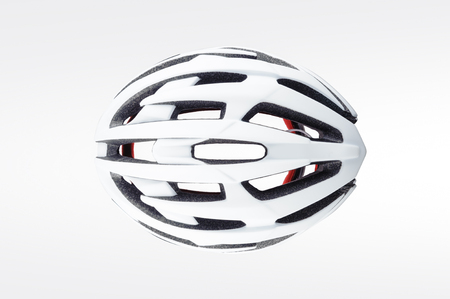 Top view of bicycle helmet isolated on white background