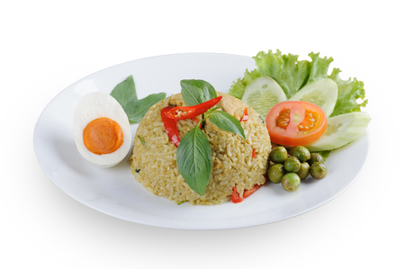 Authentic Thai green curry fried rice with salted egg isolated on white background Standard-Bild - 120046357
