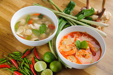 Chicken Chicken Tom Yum and Creamy Tom Yum Kung Thai hot spicy shrimp soup