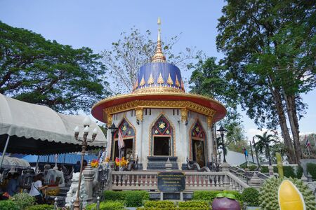 CHANTHABURI, THAILAND-December 30, 2019: King Taksin the Great's shrine in front of 2nd Battalion, 1st Infantry Regiment, Royal Thai Marine Corps
