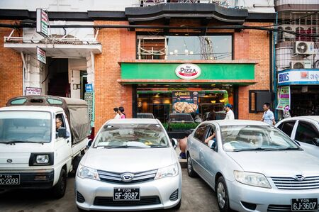 Yangon, Myanmar - Feb 13, 2018: Pizza place in a city of Yangon, Myanmar. Pizza restaurant in Yangon, Myanmar