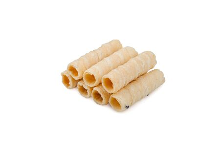 Thai crispy coconut roll isolated on white background. Thai roll wafers made from coconut, wheat flour, eggs, palm sugar and sesame