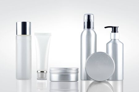 Set of cosmetic containers. Aluminium cosmetic dispenser bottles and cartridges