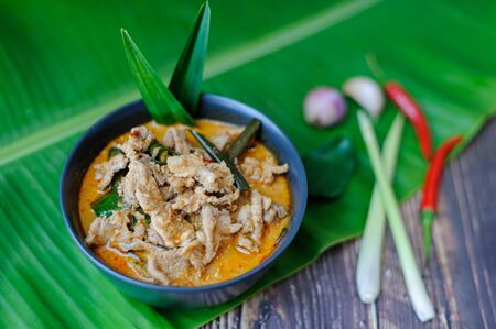 Panang coconut curry soup: The authentic Thai dish 写真素材