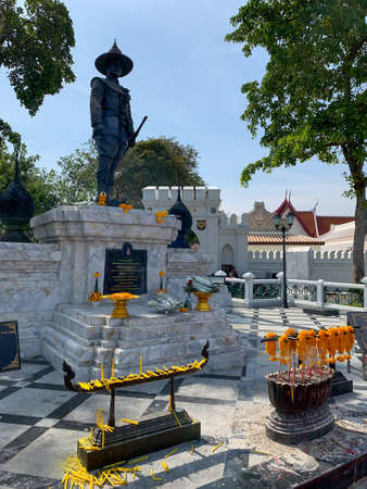 BANGKOK, THAILAND-December 20, 2020: Statue of King Taksin the Great in front of the King Taksin Palace at Royal Thai Navy Headquarters