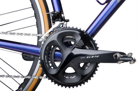 BANGKOK, THAILAND-March 3, 2021: Detail of bicycle components. TREK Emonda ALR 5 with Shimano components and Campagnolo Zonda C17 wheel isolated on white background Editorial
