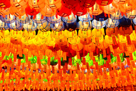 Buddhas Birthday is celebrated hwaryeot procession of lanterns Jogye Temple in Seoul Stock Photo