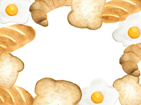 Watercolor background with space for text ,bread and fried egg - breakfast.
