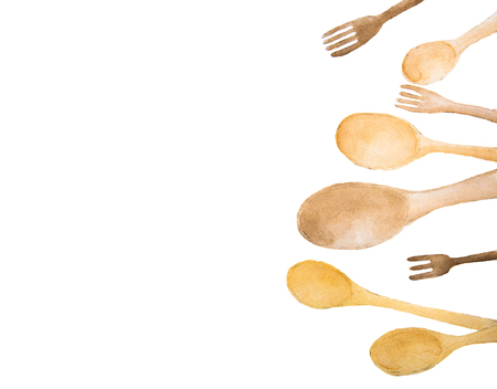 Wooden spoons and fork with place for text - watercolor painting on white background