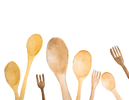 Wooden spoons and fork with place for text - watercolor painting on white background Stock Photo
