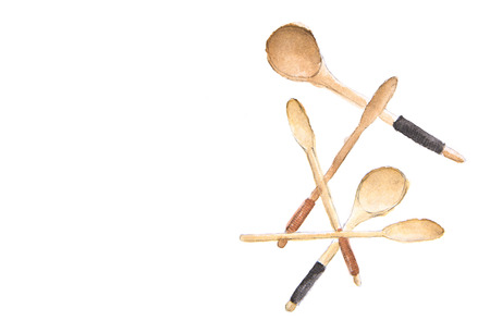 Wooden spoons with place for text - watercolor painting on white background