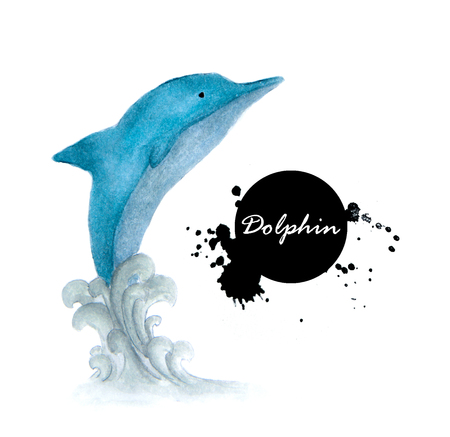 Blue dolphin and wave. Watercolor hand drawn illustration. Underwater animal image Stock Photo
