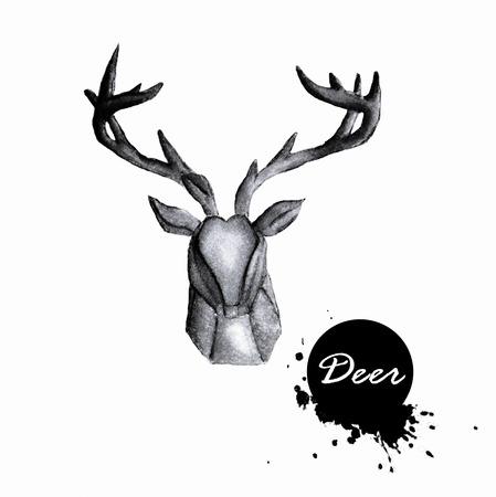 wild venison: Watercolor deer head