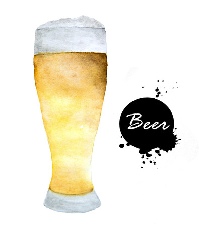 Glass of beer- hand drawn in watercolor. Alcohol drinks