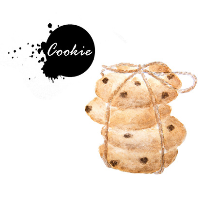 Chocolate chip cookies tied with brown rope- watercolor painting illustration on white background