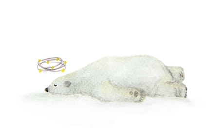 Hand painted watercolor dizzy bear seeing stars, a polar bear with yellow stars circleing around head.