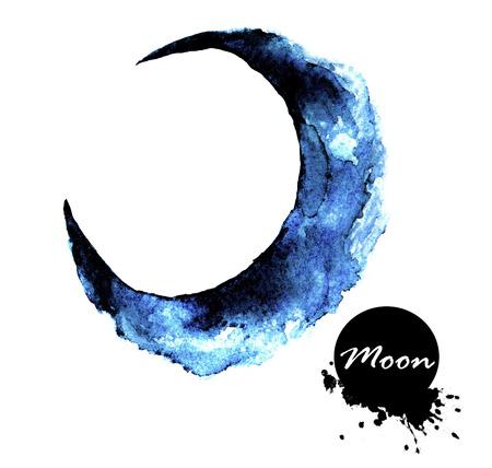Acuarela pintura de media luna