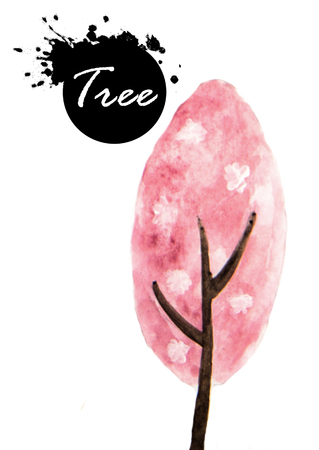 Watercolor painting of Pink tree