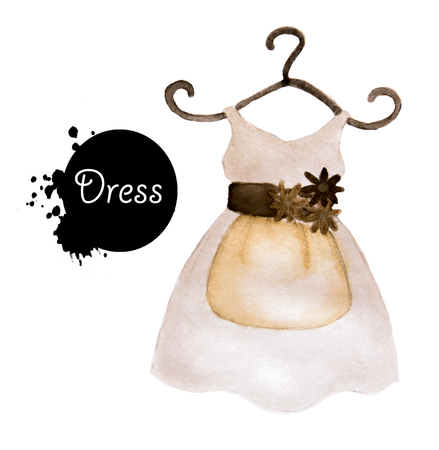 watercolor drawing of Dress on white background