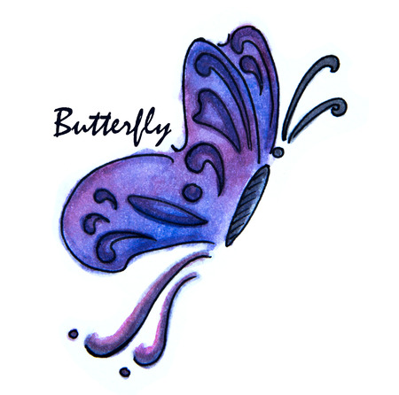 watercolor drawing of Blue butterfly on white background Stock Photo
