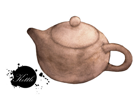 Watercolor painting of brown kettle on a white background