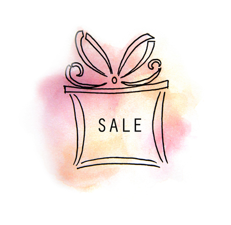 yard sale: Watercolor painting of Sale tag icon on box with paint stain isolated on a white background