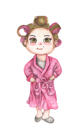 Beautiful young woman in pink bathrobe with hair curlers. Pink hair rollers. Isolated on white background. Hand Drawn and Painted. watercolor illustration Stock Photo