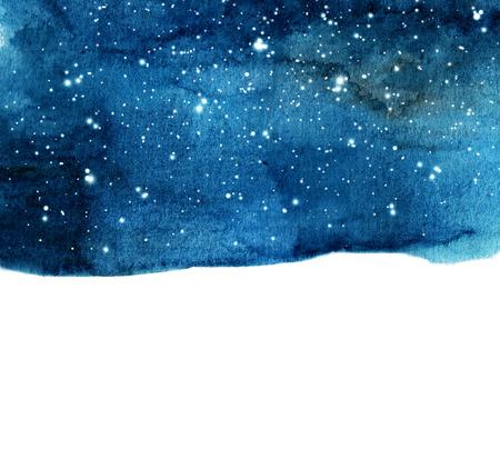 Fond de ciel nocturne aquarelle avec des étoiles. mise en page cosmique avec espace pour le texte.