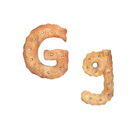 Cookie letter G on white background. Cookie font. Food sign ABC Stock Photo