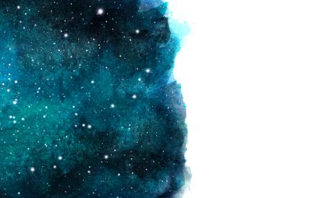 Priorità bassa del cielo notturno dell'acquerello con le stelle. layout cosmico con spazio per il testo. Archivio Fotografico