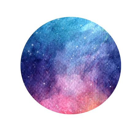 Galaxie grunge stylisée dessinée à la main ou ciel nocturne avec des étoiles Fond de l'espace aquarelle. Illustration de cosmos en cercle. Brosse et gouttes.