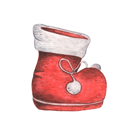Red Santa's boot. Christmas decor, Watercolor illustration isolated on white background.