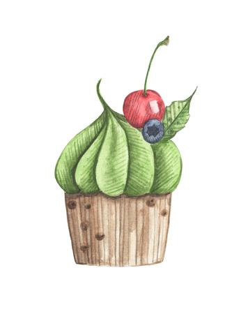 Watercolor cupcake with cherry and blueberry. Hand drawn delicious food illustration, isolated on white background.