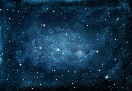 Aquarel nacht hemelachtergrond met sterren. kosmische textuur met gloeiende sterren. Stockfoto