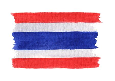 Hand drawn watercolor flag of the Thailand, isolated on the white background. 写真素材