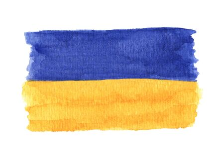Hand drawn watercolor flag of the Ukraine, isolated on the white background.