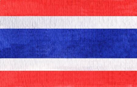 Hand drawn watercolor flag of the Thailand. 写真素材
