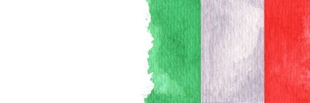 Hand drawn watercolor flag of the Italy and copy space.