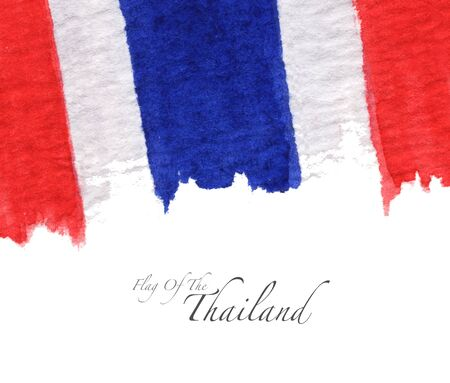Hand drawn watercolor flag of the Thailand and copy space.