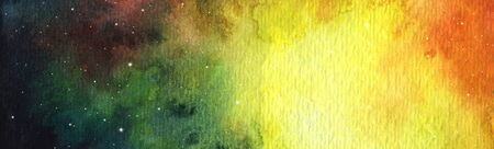 Abstract bright colorful universe. Nebula night starry sky in rainbow colors. Multicolor outer space. Nebula and galaxies in dark space for posters, banners, web design. Hand painted watercolor illustration. Banque d'images - 130542718