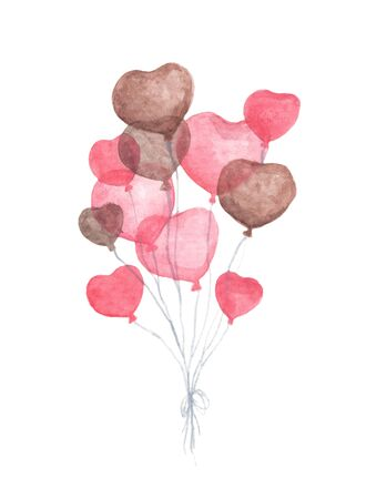 Watercolor painting of Bunch of heart shaped balloons. Pack of party red and brown balloons isolated on white background. Valentines red heart balloons. Love and romance illustration.