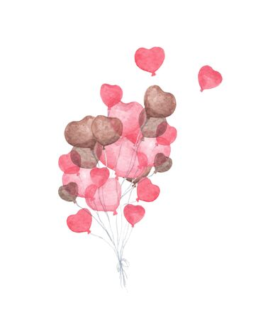 Bunch of heart shaped balloons. Flying valentines red heart balloons on white background. Love and romance. Watercolor illustration.