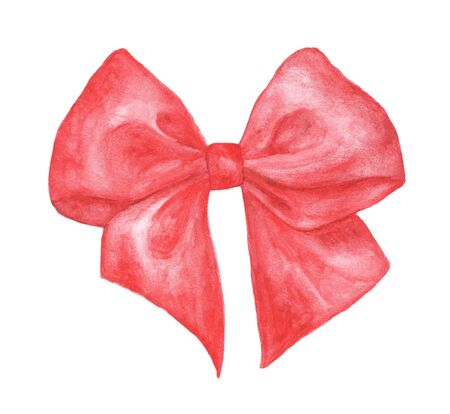 Red gift bow isolated on white background. Watercolor sketch. Hand drawn illustration of bow and ribbon. Classical bow decorative element.