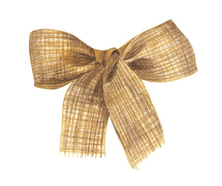 Burlap bow and ribbon isolated on white background. Watercolor Hand painted illustration. 写真素材