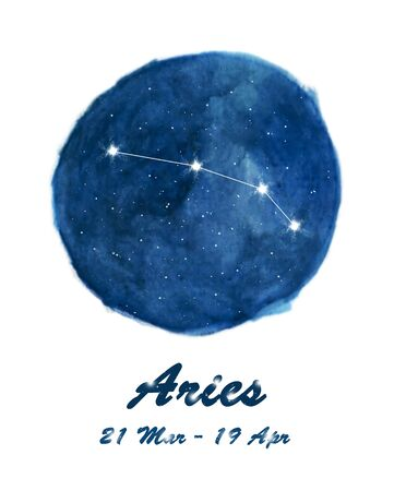 Aries constellation icon of zodiac sign Aries in cosmic stars space. Blue starry night sky inside circle background. Galaxy space design for horoscope icon, cards, posters, fortune telling.